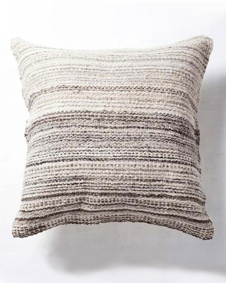 Handwoven undyed wool pillow grey blend