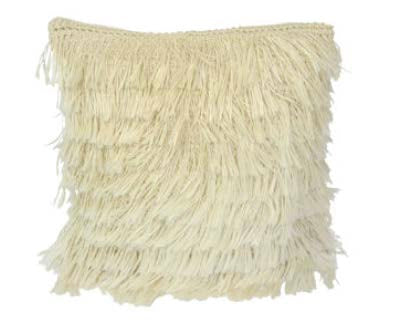 Handwoven plant fiber natural fringed pillow