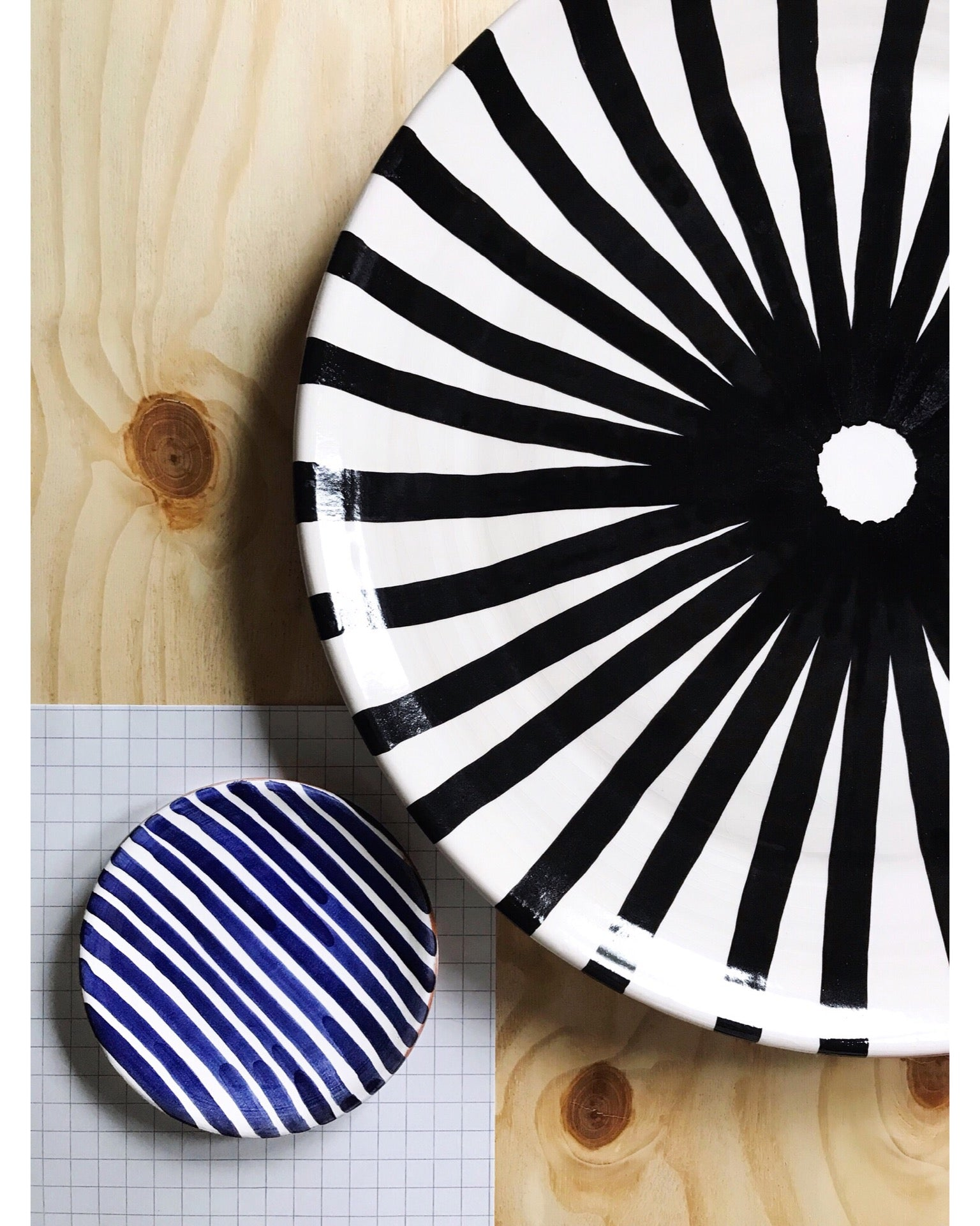 Handmade ceramic plate geometric pattern black and white B&W