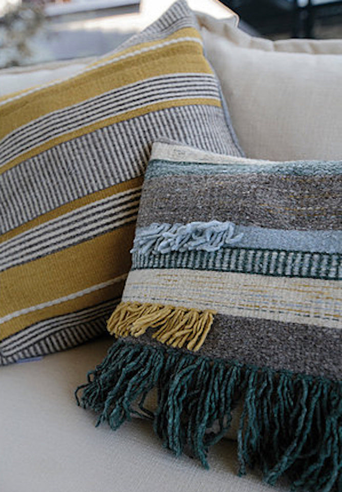 Handwoven wool pillow grey blue yellow ochre with fringe