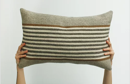 Handwoven wool pillow grey and brown geometric pattern design