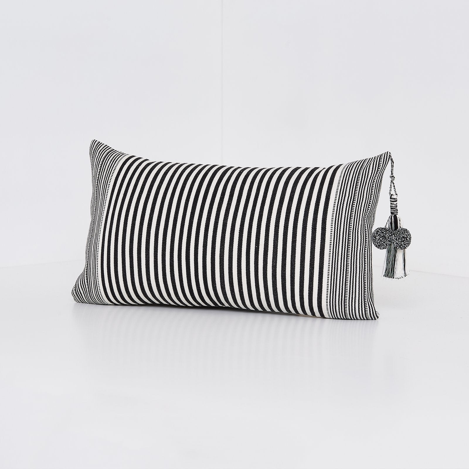 Handwoven cotton pillow with tassels black and white B&W silver