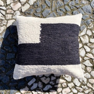 Handwoven cotton pillow black and white B&W