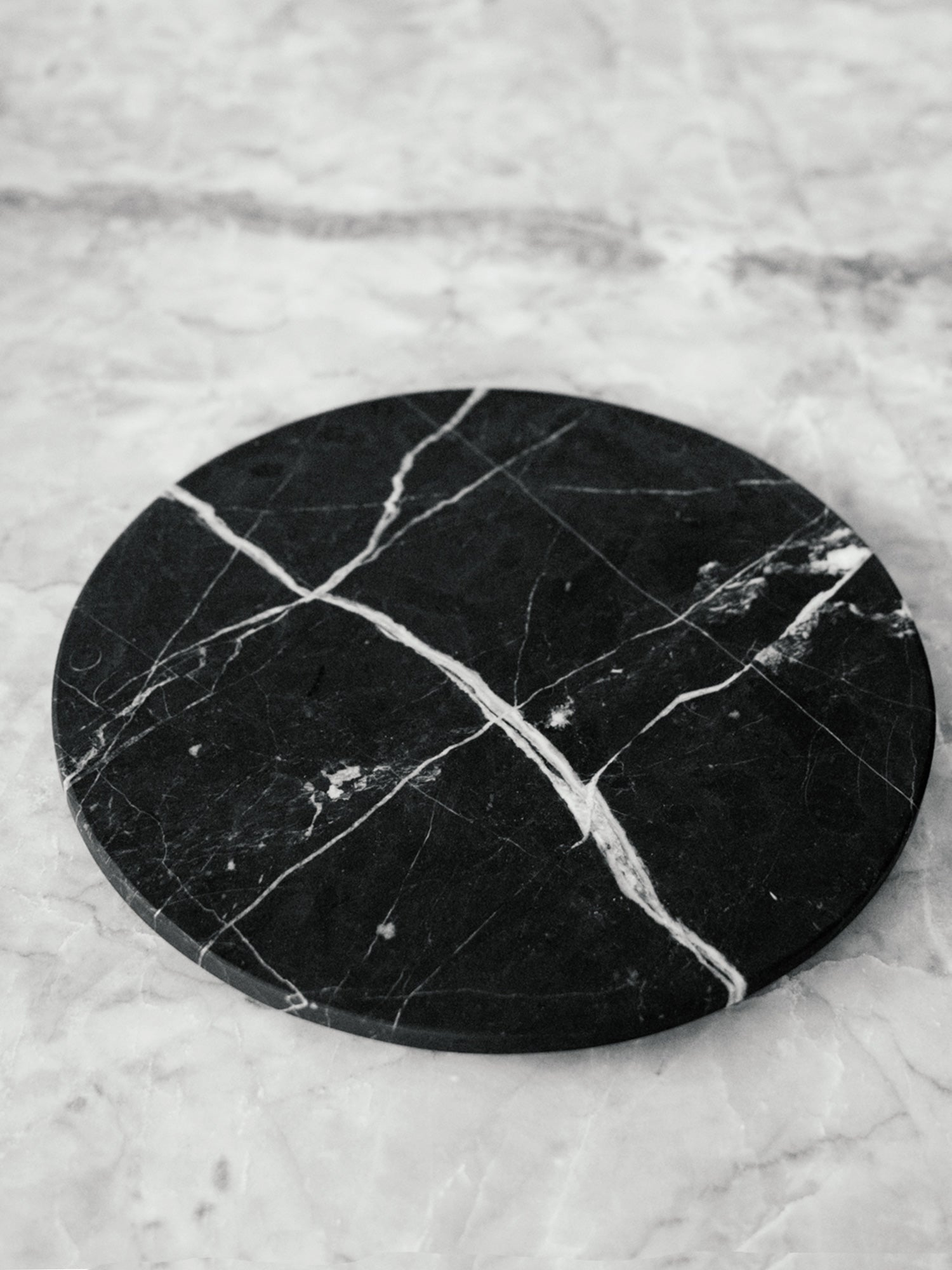 Circular Serving Platter in Black Marble