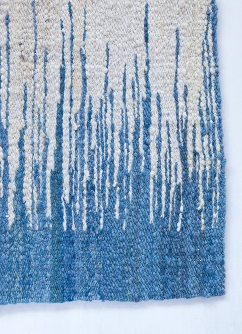 Handwoven wool rug blue and white