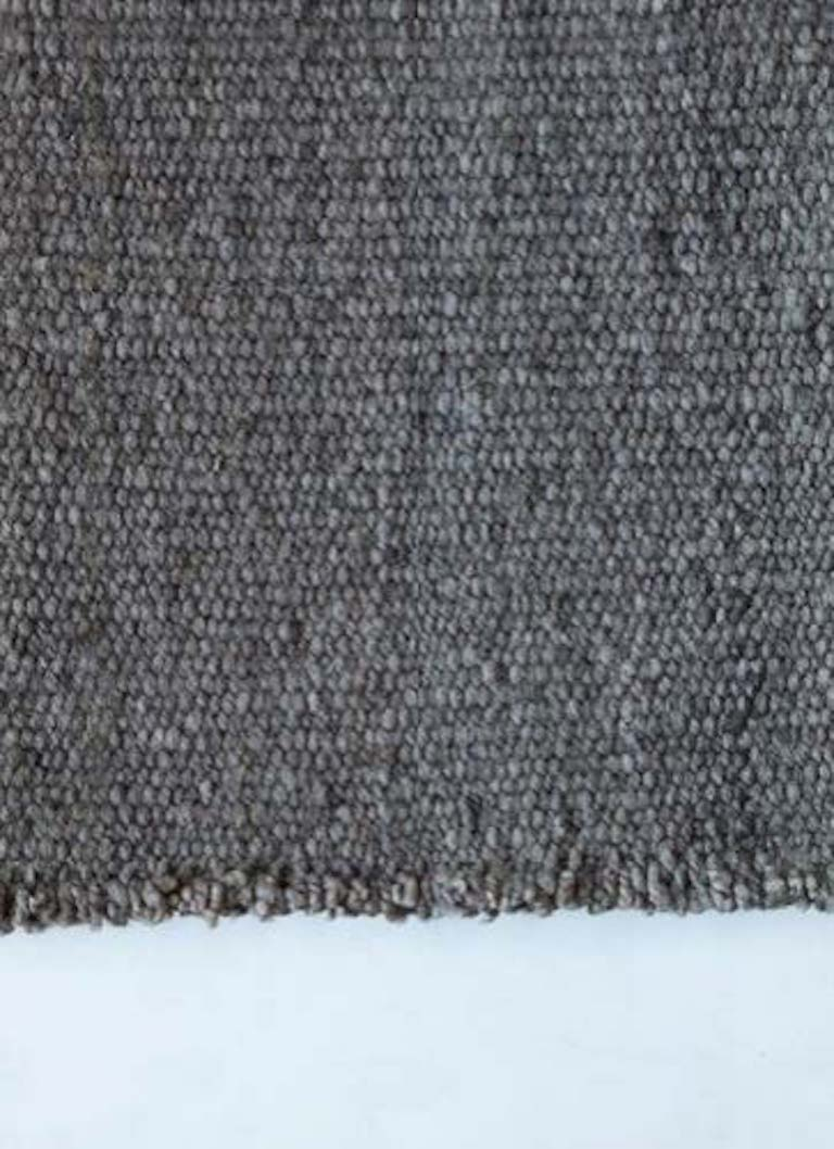 Handwoven wool rug dark grey