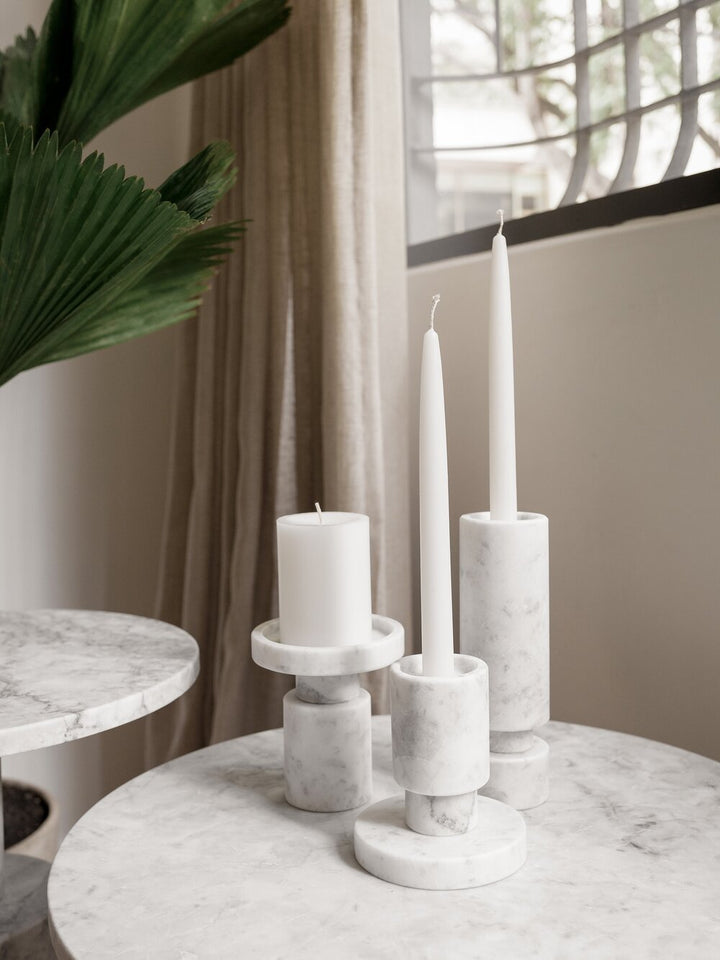 Reversible Candleholder Set of 2 in White Marble