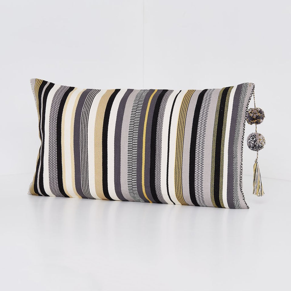 Handwoven cotton pillow black and white and grey and ochre yellow stripes with tassels