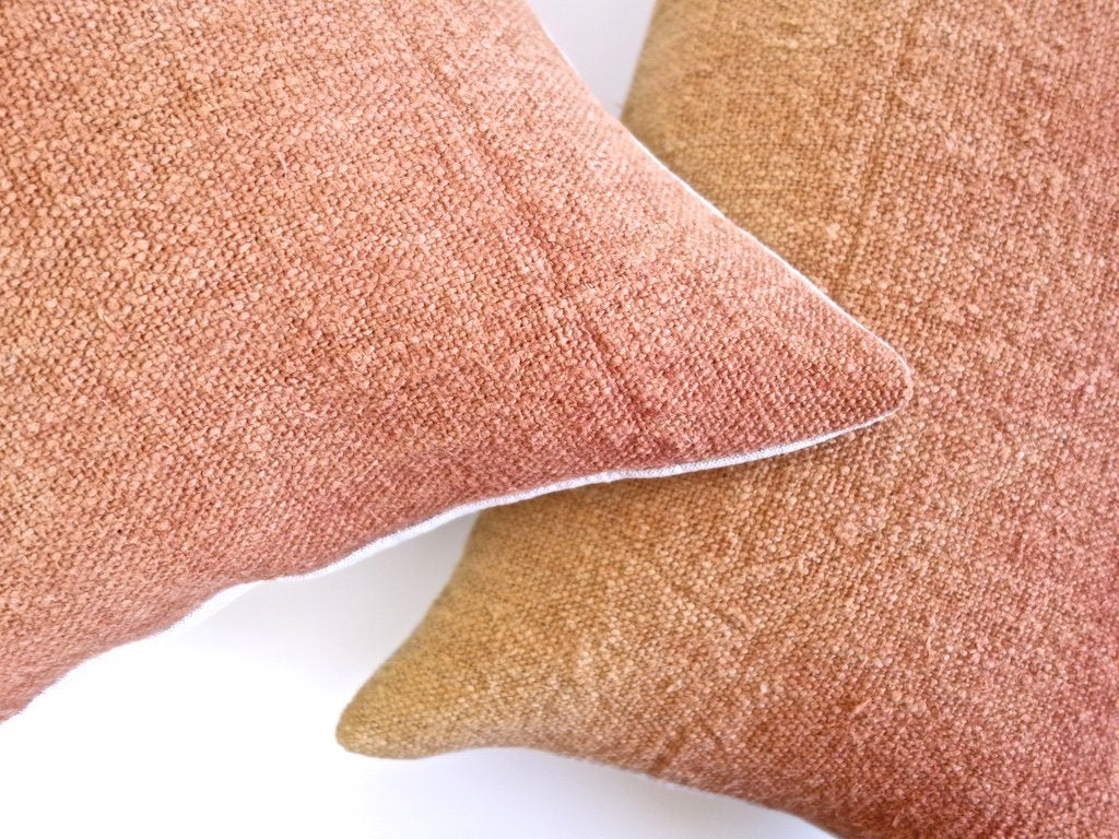 Hand-Painted Vintage Linen Pillow - Coppers/Rust