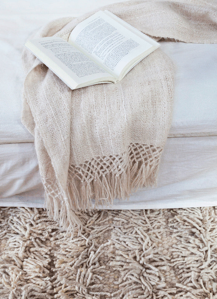Handwoven llama wool throw ivory white
