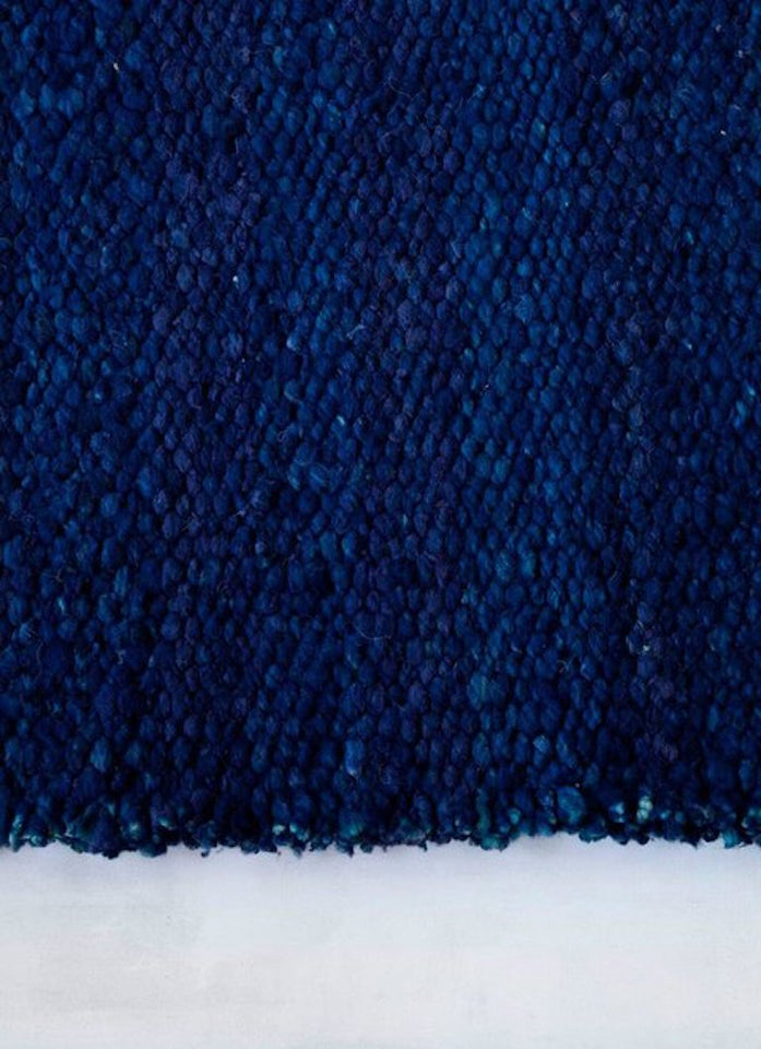 Handwoven wool rug marine blue