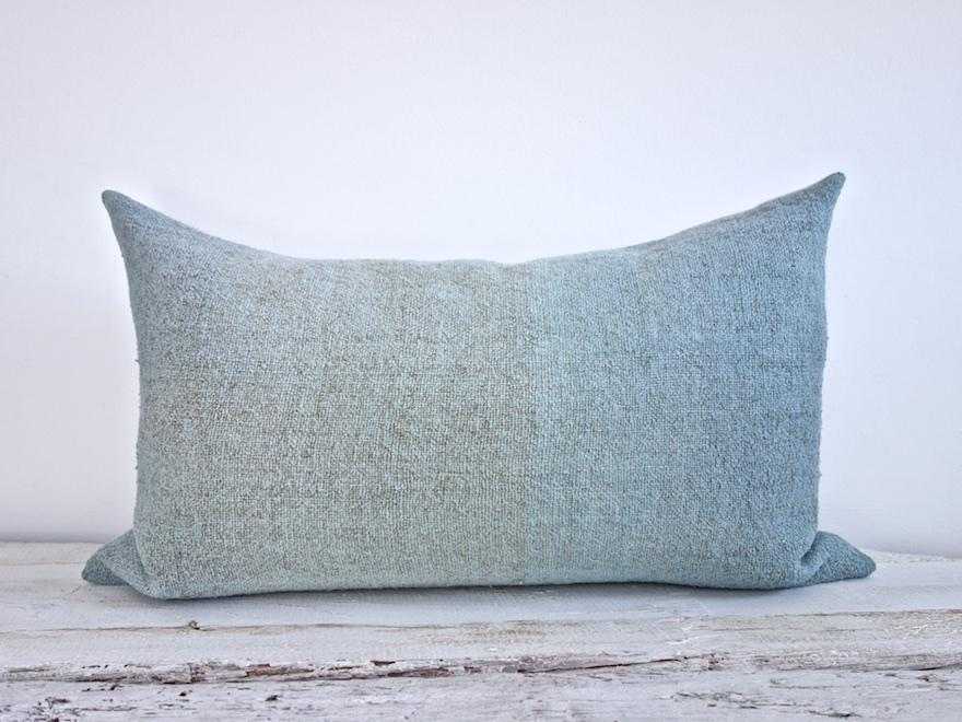 Hand-Painted Vintage Linen Pillow - Aqua
