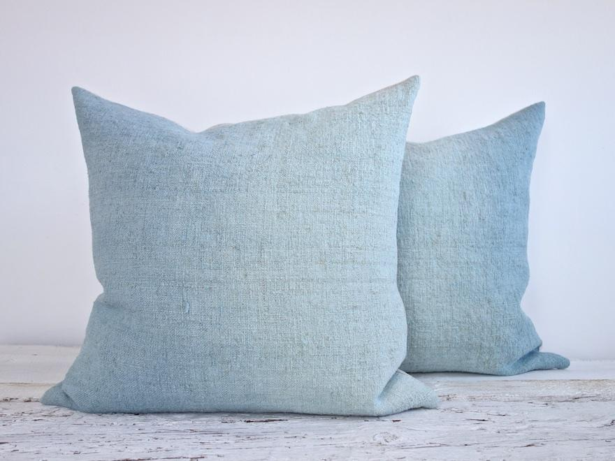 Hand-painted vintage linen pillow blue aqua