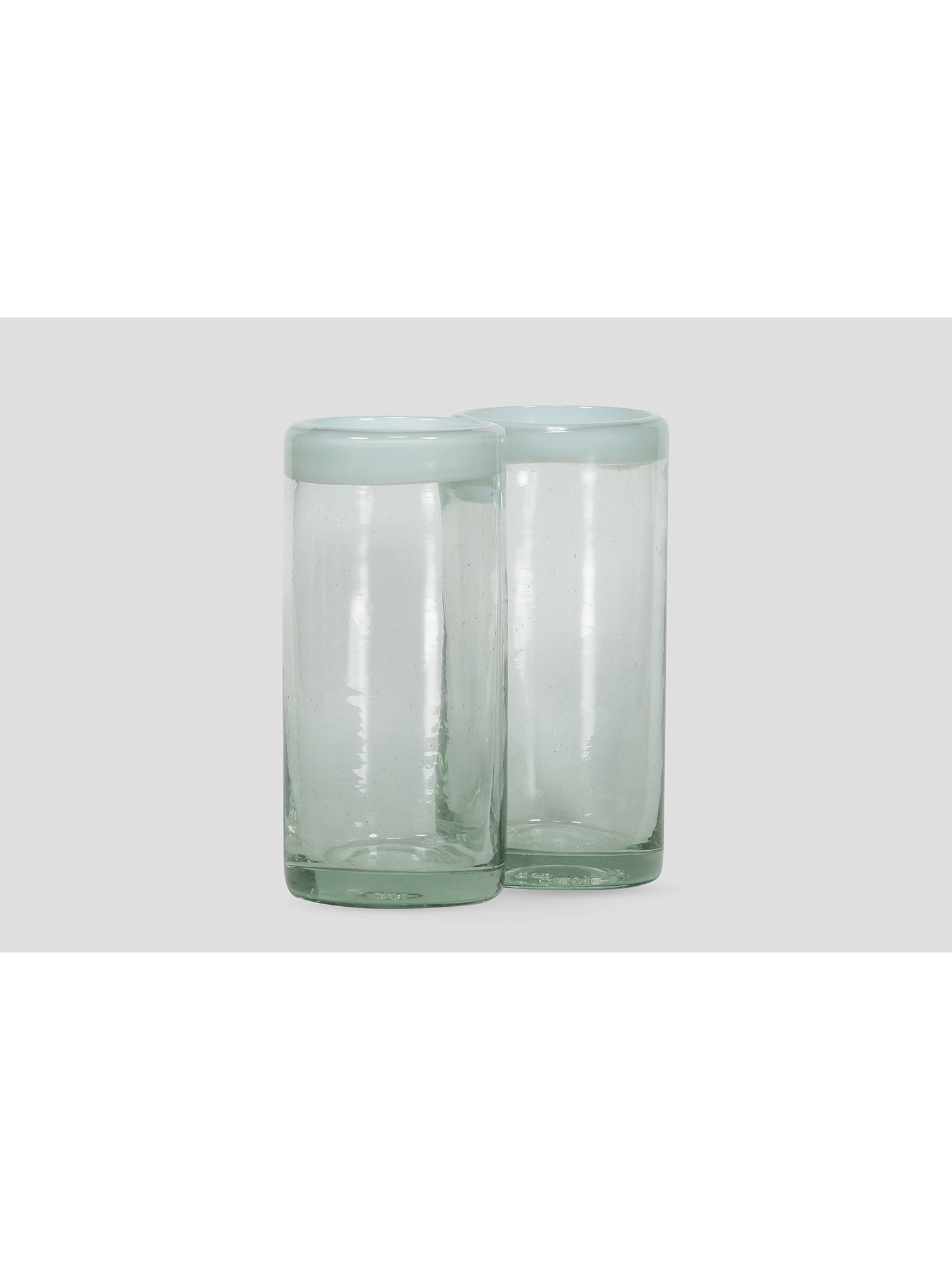 Blown glass tall tumblers with white edge