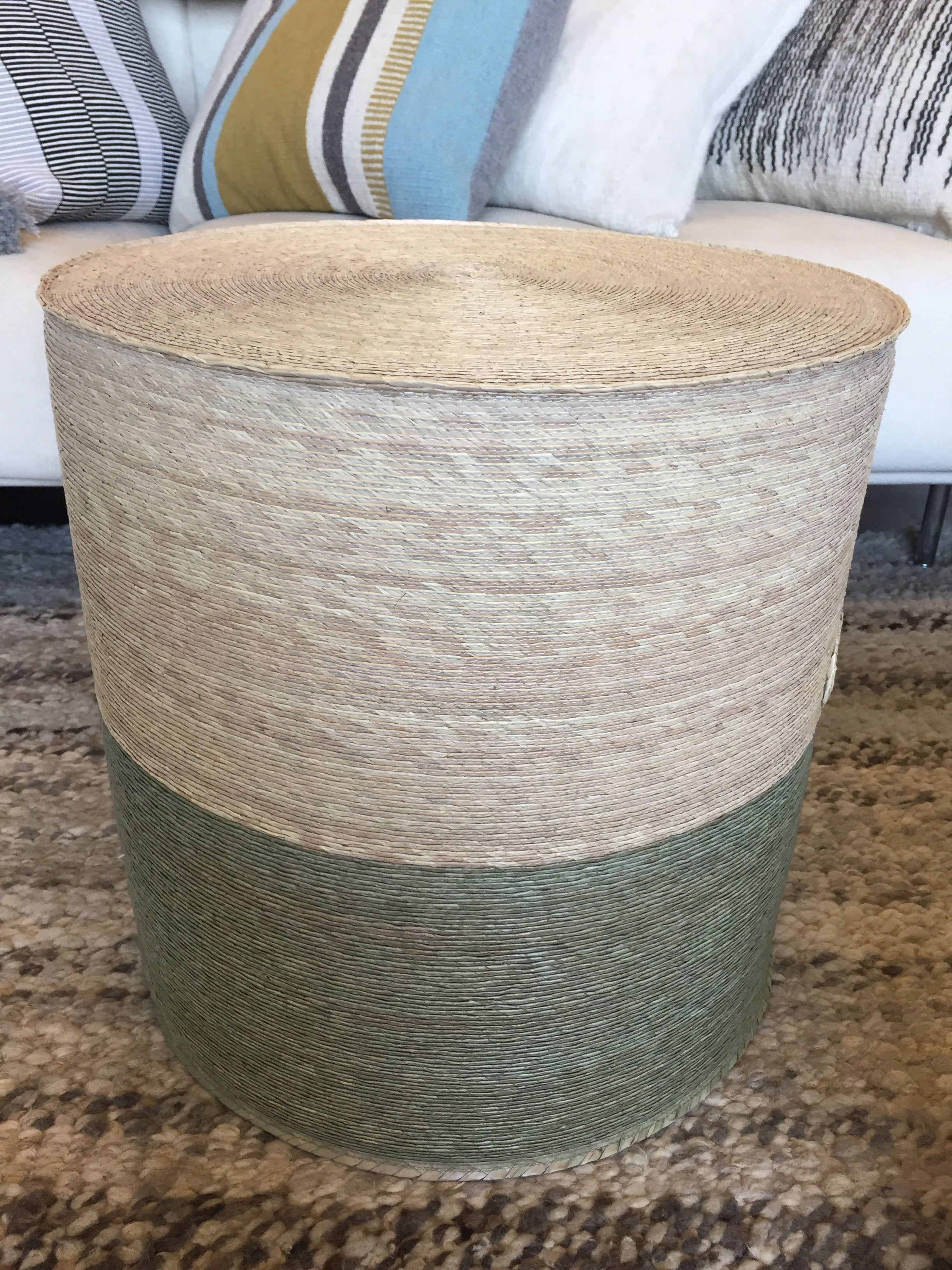 Woven Palm Colorblocked Pouf