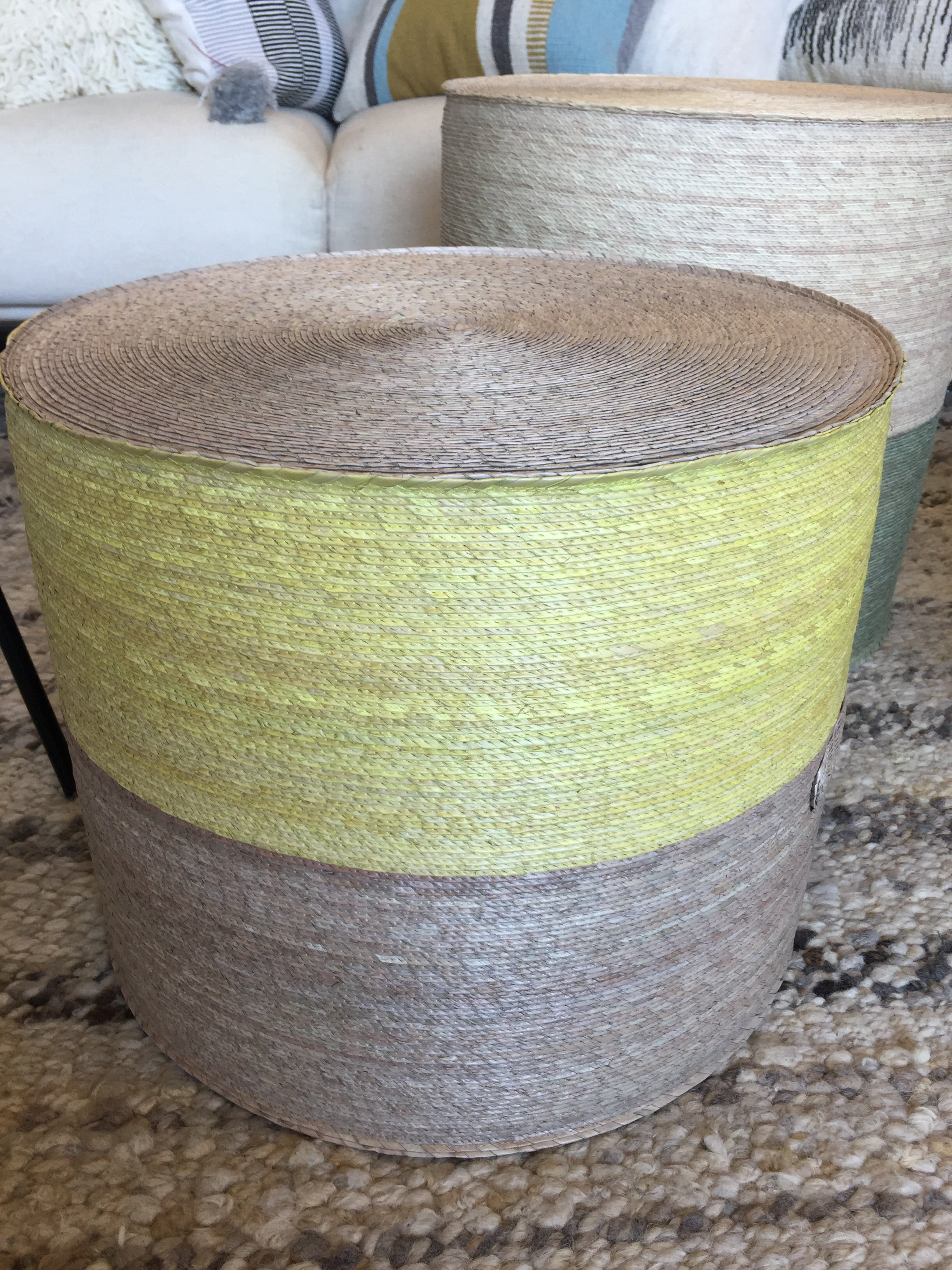 Handwoven palm pouf yellow natural