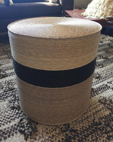 Handwoven palm pouf black grey natural