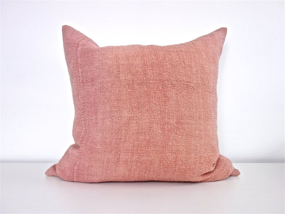 Hand-painted vintage linen pillow pink blush