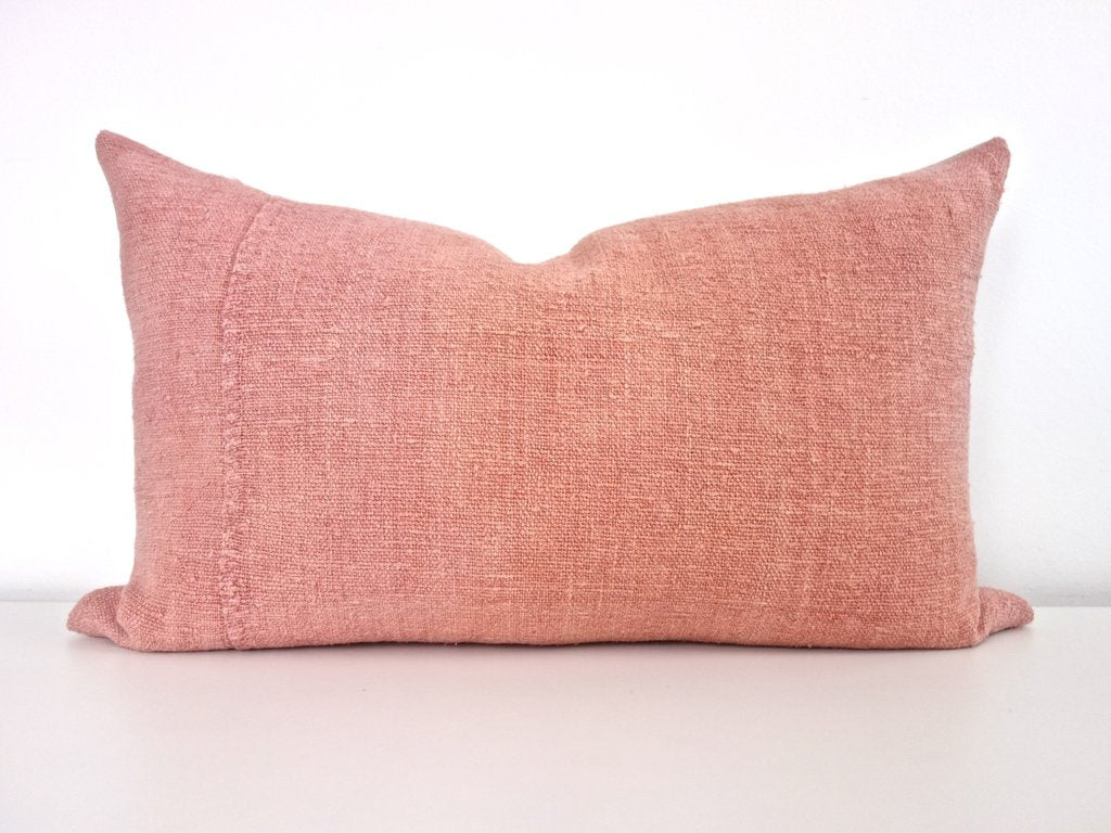 Hand-Painted Vintage Linen Pillow - Pinks