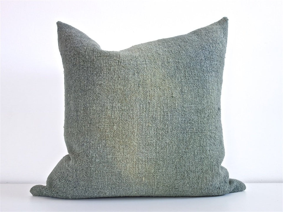 Hand-painted vintage linen pillow green