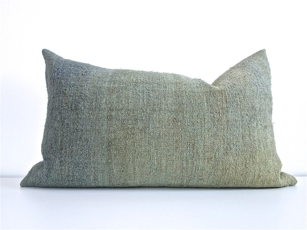 Hand-Painted Vintage Linen Pillow - Greens