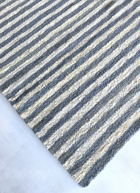 Handwoven wool rug white and blue