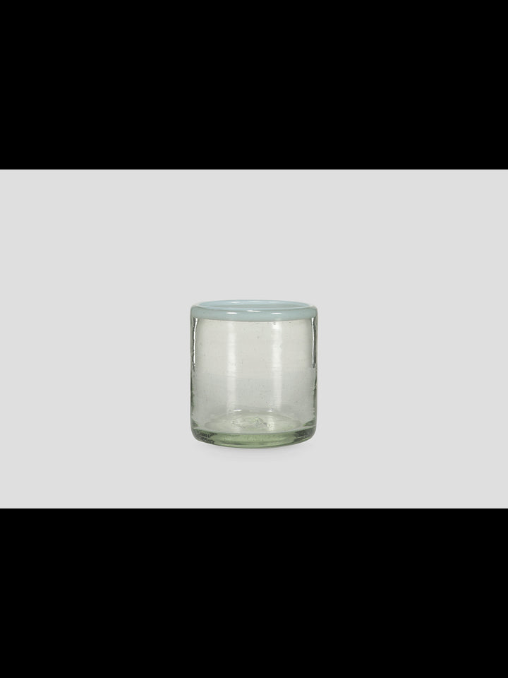 Blown glass tumbler with white edge