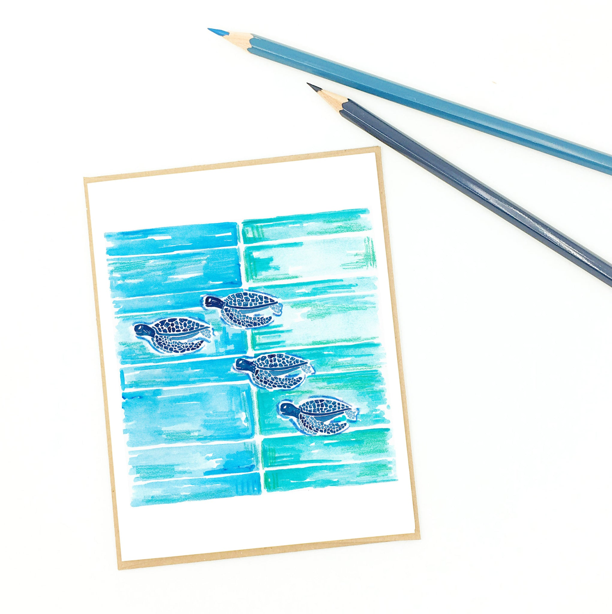 sea turtle card, aqua blue and navy, swimming sea turtles