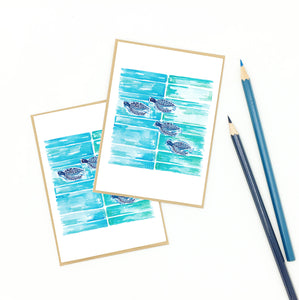sea turtle note cards, set of eight, aqua blue and navy
