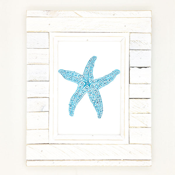Starfish art, beautiful aqua blue star of the sea.