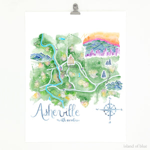 Asheville map, North Carolina, illustrative wall art giclee print.