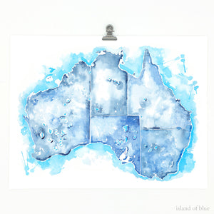 australia map watercolor