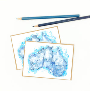australia gifts, watercolor map notecards