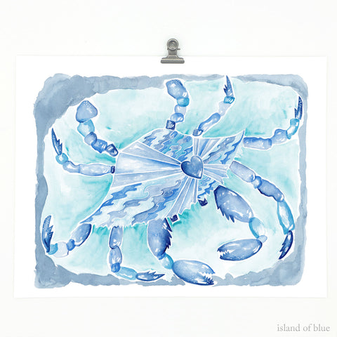 crab painting, indigo and aqua blue, 'Love Our Oceans'.