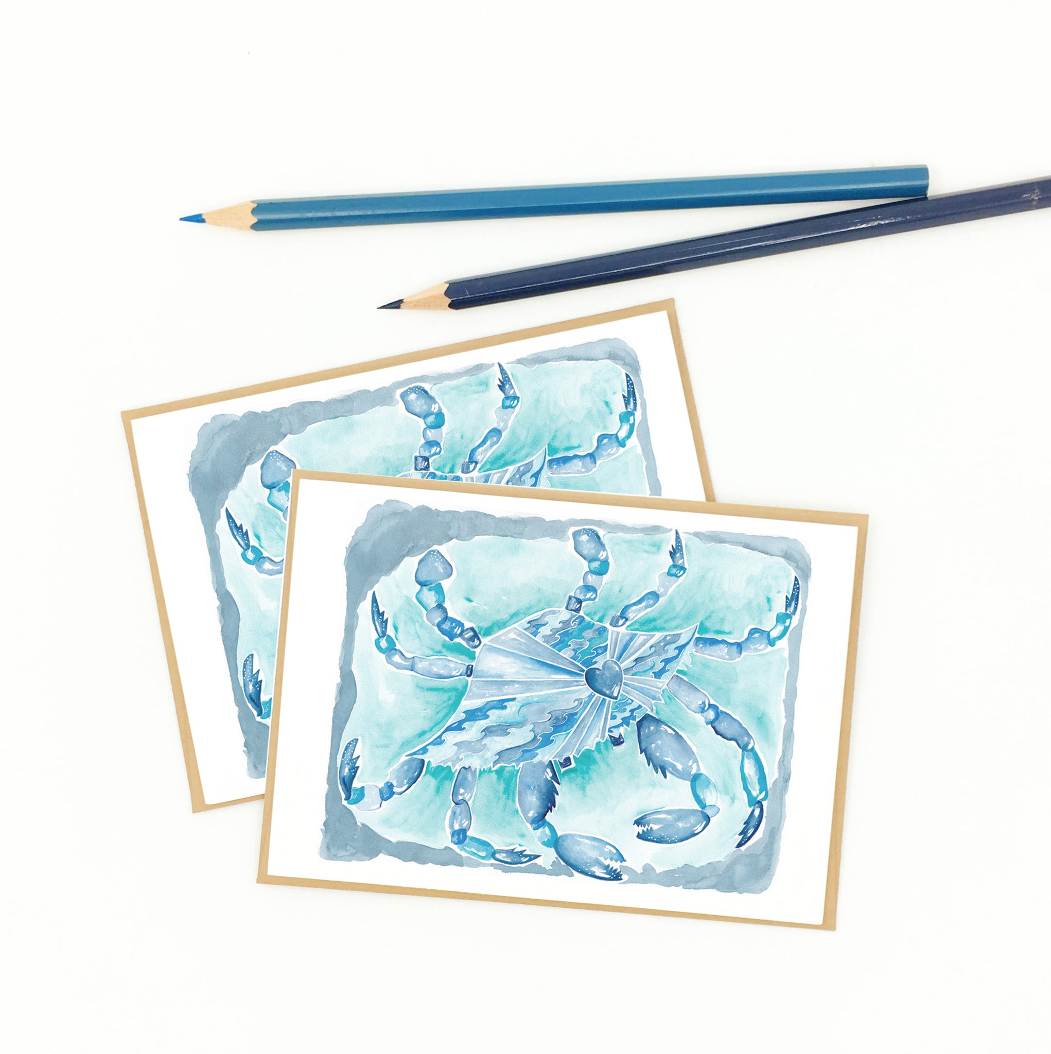 blue crab gifts, set of eight notecards, boxed.