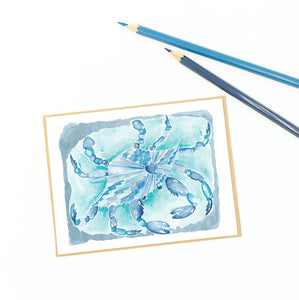 blue crab artwork, single fine art card for mailing or framing.