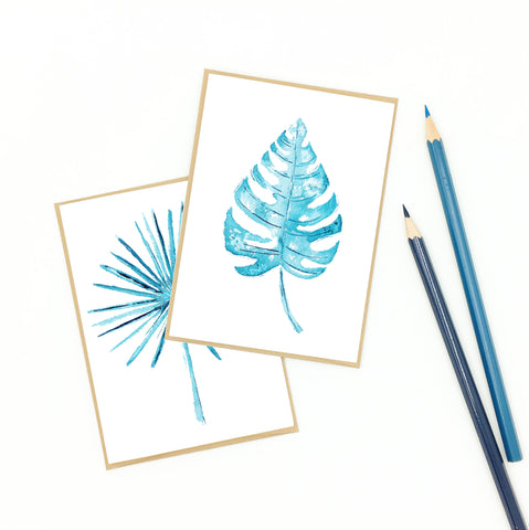 tropical notecard set in blue