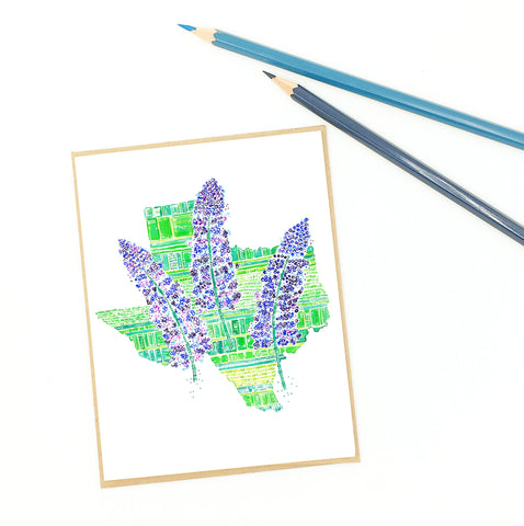 Texas bluebonnet map art, single notecard, mail or frame.