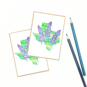 Bluebonnet note cards, set of eight (8), recycled.
