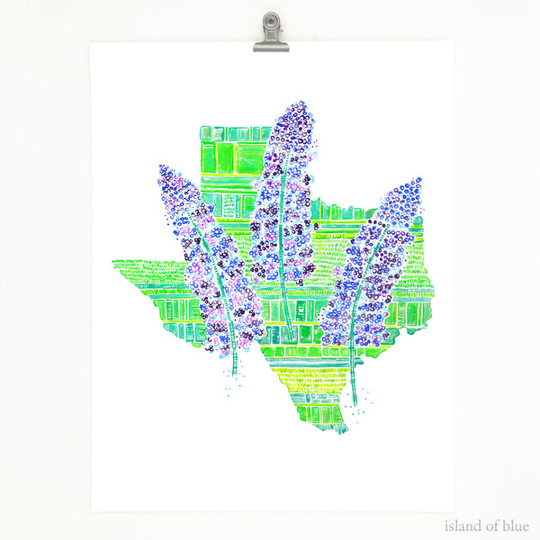 Texas bluebonnet art, illustrative map of Texas with wildflowers.