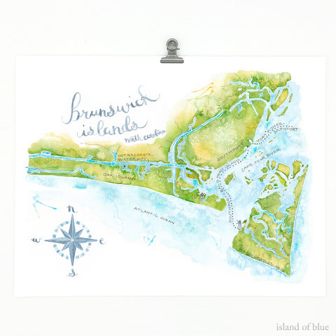 oak island map nc, watercolor and gouache paint, giclee print.