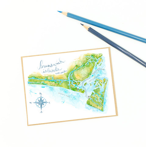 Oak Island map, single fine art card.