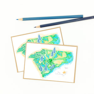 Made in North Carolina gifts, boxed set of Carolina map notecards, recycled.