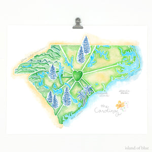 North and South Carolina map, illustrative wall art, giclee print.