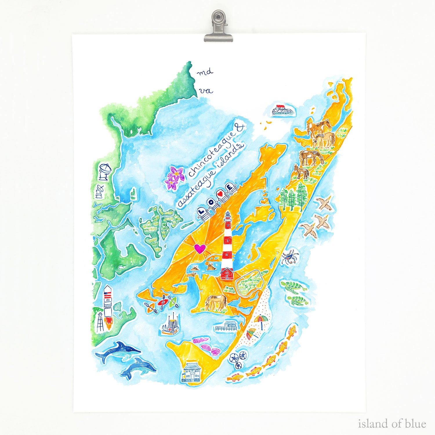 Chincoteague map, featuring Assateague Island, too.
