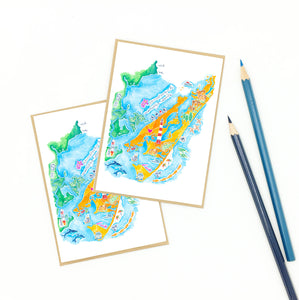 chincoteague and assateague, illustrative notecard set.