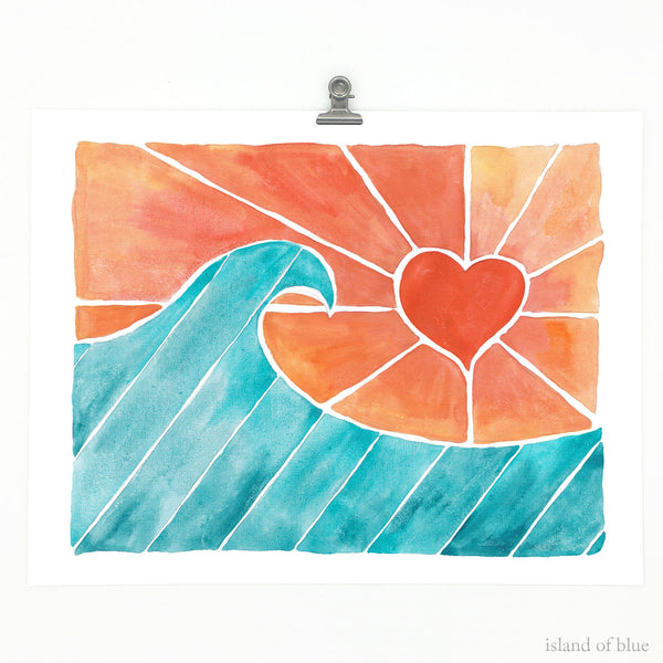Surf print, wave heart art, 'Coral Skies', watercolor giclee.