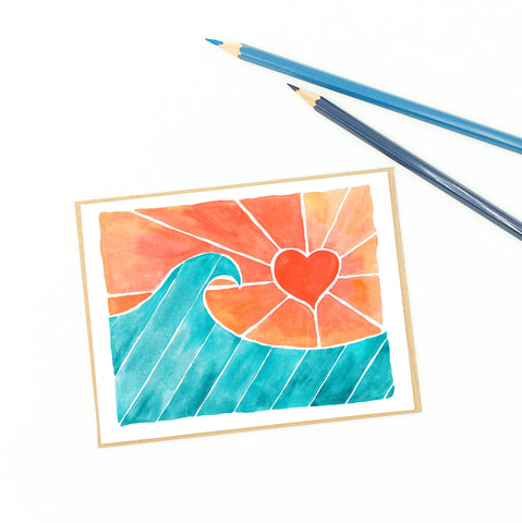 heart greeting card, coral skies, ocean waves.
