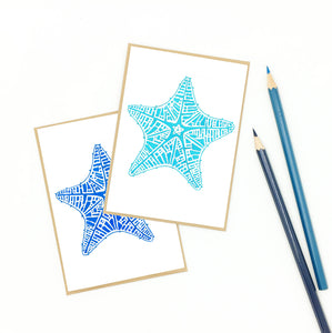 starfish gifts, set of eight (8) watercolor notecards