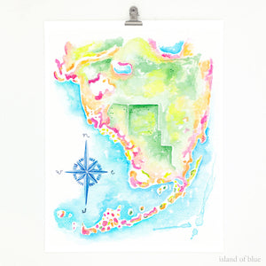 southwest florida map art, florida keys